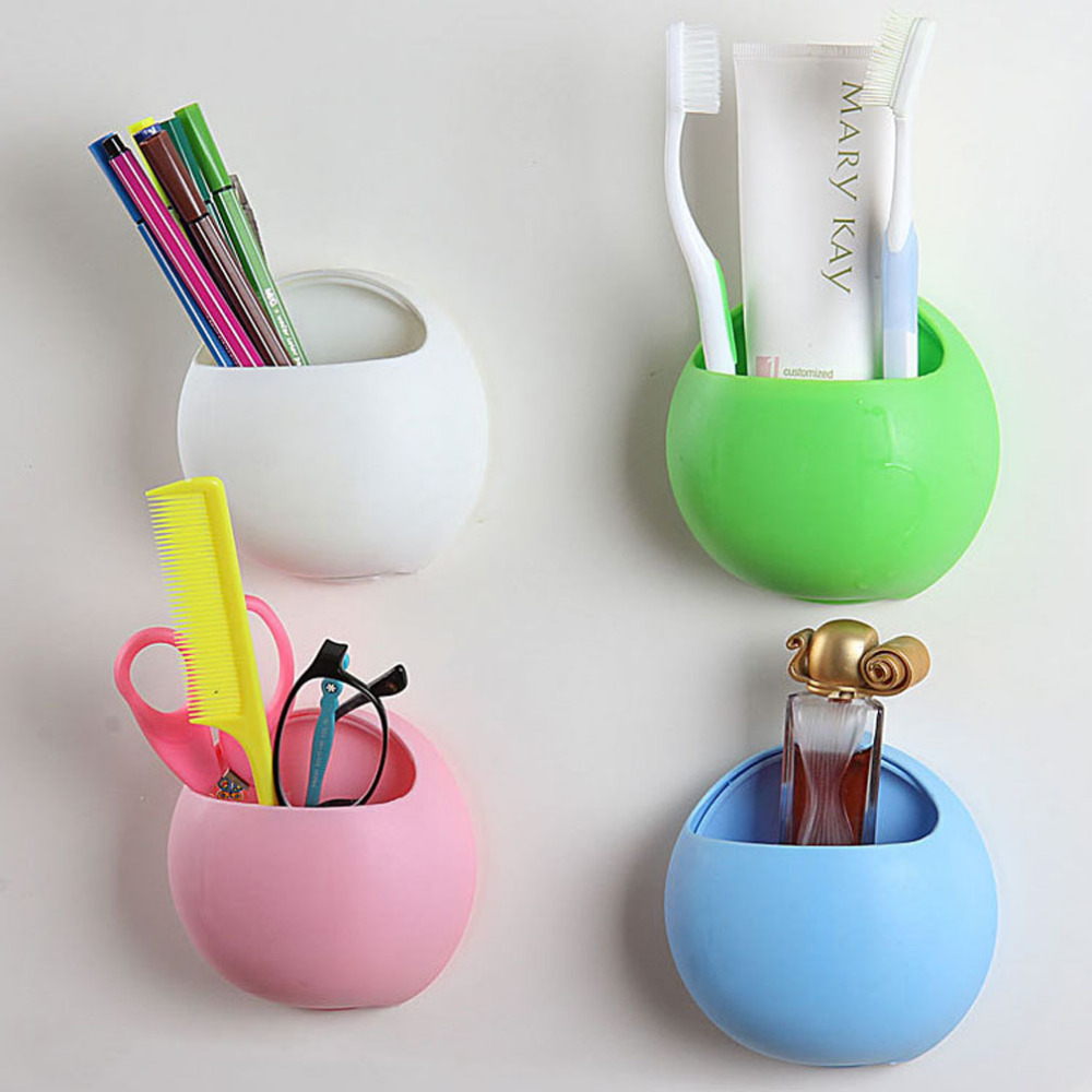 2016 Hot Organizer Bathroom Toothbrush Holder <font><b>Cup</b></font> Wall Mount Sucker Toothpaste <font><b>Dispenser</b></font> Toothbrush Holder Suction Hooks <font><b>Cups</b></font> W2