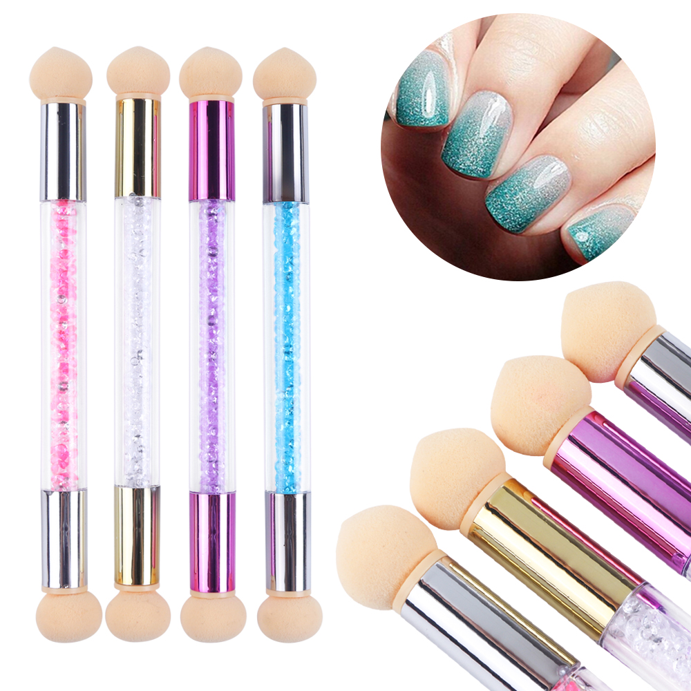 1pc Double Head Nail Brush Gel Polish Gradient Pen Sharp Round Sponge Manicure Dotting Blooming Shade Acrylic Drawing Tool LA945