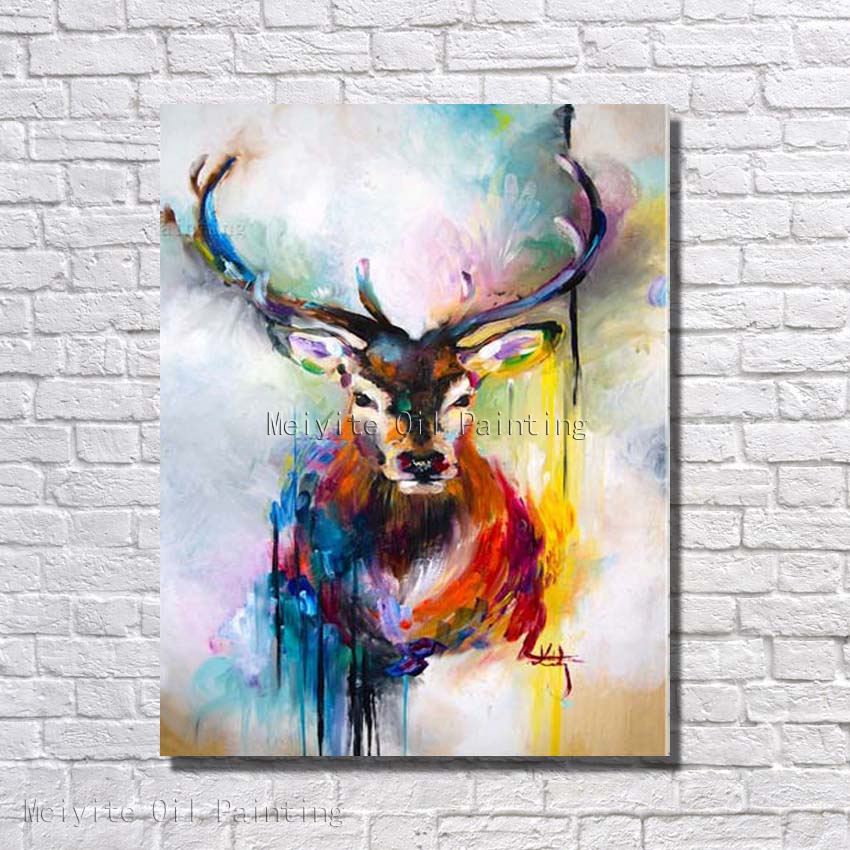 Strong Deer Colors Animal Abstract Oil Painting Canvas Hand Paint Wall