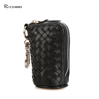 New Women Men Genuine Leather Weave Car Key Wallets Large Capacity Keys Housekeeper Holders Bags Card Coin Purse Pouch