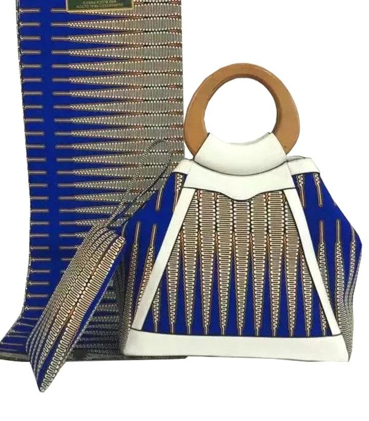 African Super Wax Bag and Fabric African font b Handbag b font with Wax Fabric Set