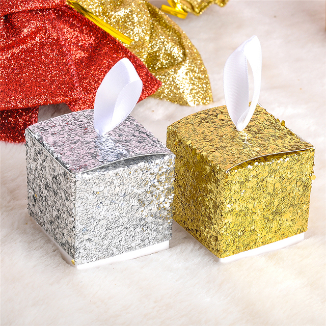 Us 7 83 15 Off 12pcs Lot Glitters Candy Boxes Wedding Favor Gift Box Gold Silver Color Birthday Baby Shower Party Christmas Candy Box For Kids In
