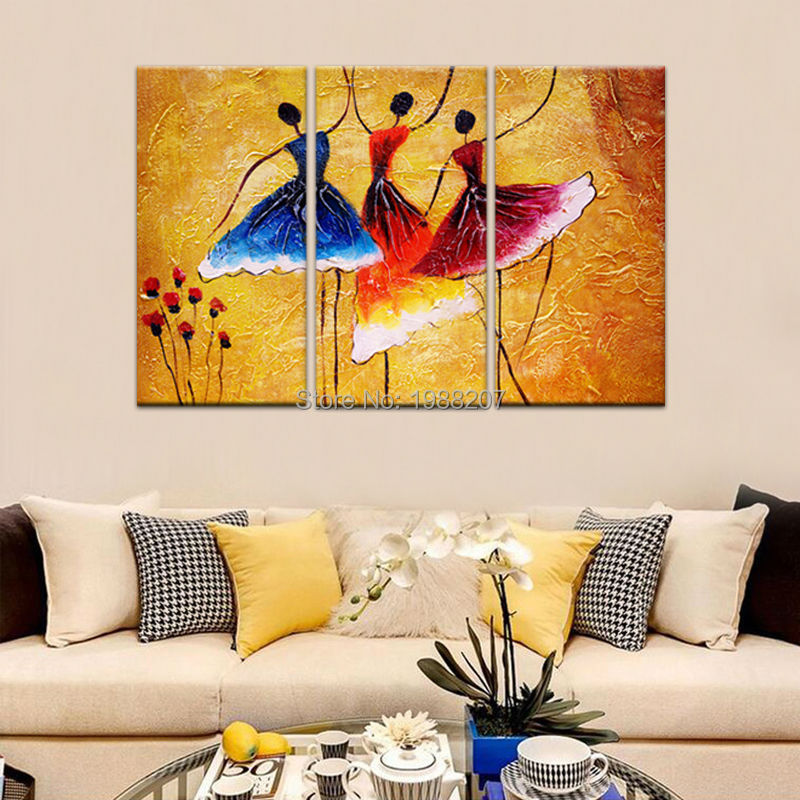 3 Panels Abstract Ballet Dancers Oil Painting Picture