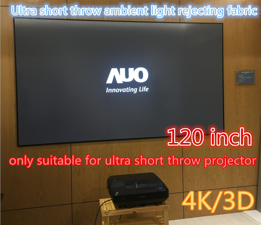 US $1520 0 |jingke projector screen Ultra short throw ambient light  rejecting fabric 120 inch 16:9 projection screen in home 4K/3D/2D-in  Projection