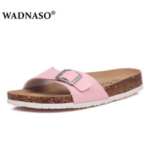WADNASO Summer Style Shoes Womens Orthotic Cork Slippers Slip-on Casual Classics Flip Flop Plus Size 35-45 white pink