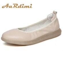 цены AARDIMI Handmade Women Loafers Genuine Leather Flat Shoes Casual Boat Shoes Woman Soft Ballet Flats Oxfords Sapato Feminino