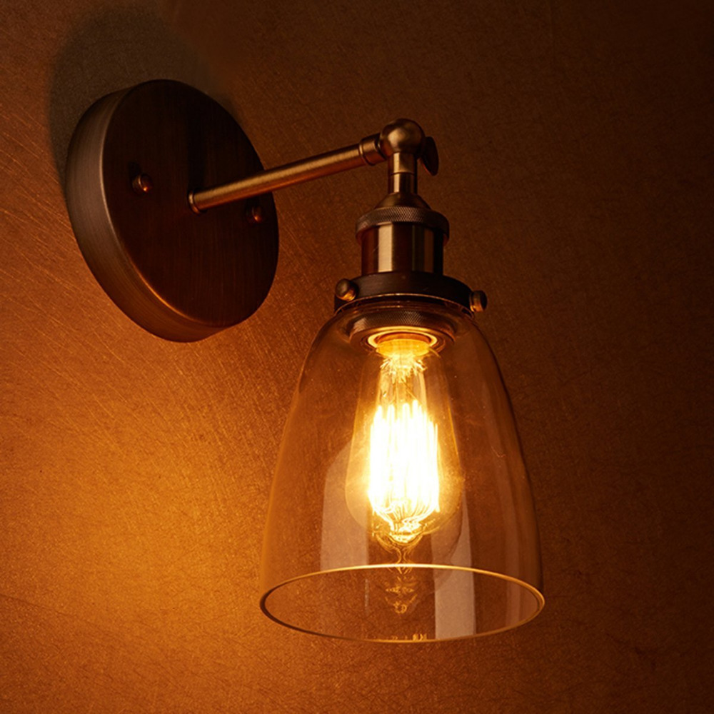 Bedroom Wall Sconces Lighting. Wholesale Price Loft Vintage Industrial  Edison Wall Lamps Clear Glass Lampshade