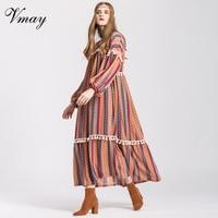 Vmay Women Vintage Bohemian Long Dresses 2018 New Arrival V Neck Long Sleeve Tassel Floral Print