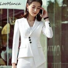Moda mujer falda traje 2018 nueva OL formal manga larga blazer y falda set  negro blanco Oficina damas más tamaño uniforme de tra. 418a486b4f05