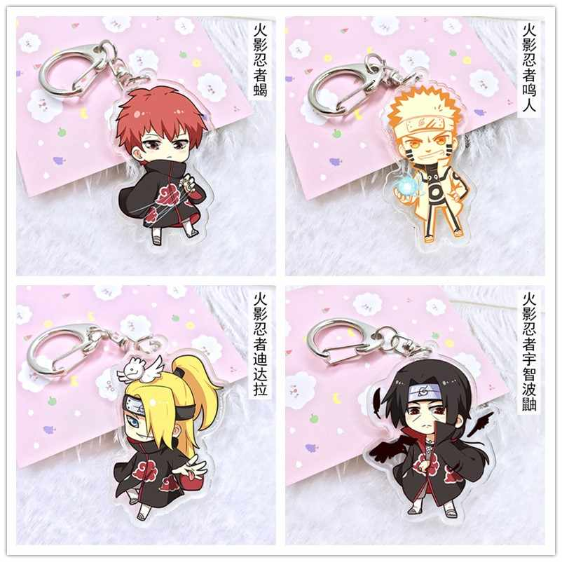 Anime NARUTO Cosplay Gaara Sasuke Akatsuki Keychain Double Sided Fashion Cartoon Keyring Key Chain Pendants High Quality.