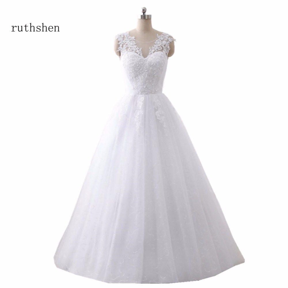 ruthshen  Ball Gown Wedding Dresses 2018 Lace Up Back Robes De Mariee Cheap Real Photo Bride Dresses Made In China-in Wedding Dresses from Weddings & Events    1