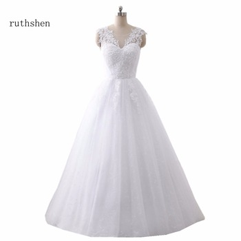 ruthshen  Ball Gown Wedding Dresses 2018 Lace Up Back Robes De Mariee Cheap Real Photo Bride Dresses Made In China