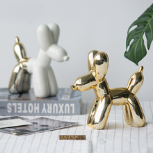 ФОТО Ins hot Nordic ceramic gold balloon dog Statue Figurine Miniture Home decor table Decoration Resin Crafts kid Chirsmas gift