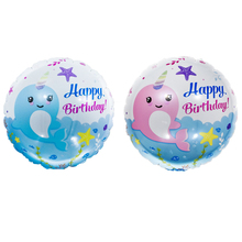 1pc New 18inch Blue Pink Narwhal Helium Foil Balloons Wedding Birthday Party Decorations Ballons Valentine's Day Globos Supplies цена 2017