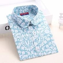 Women Floral Blouses Long Sleeve Shirt Turn Down Collar Shirts 5XL Plus Size Camisa Feminina Cotton