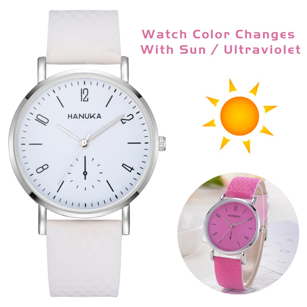 Unisex Fashion Change Color In The Sunshine Watches Women Dress Wristwatch Casual Leather Quartz Watches Luxury Girl Watch 2018