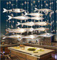 novel creative crystal glass flying fish chandelier for restaurant living room dining room decor 1889