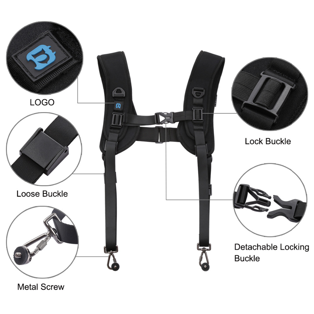 GuiPing Quick Release Double Shoulder Harness Soft Pad Decompression Foam Strap Belt for DSLR Digital Cameras Durable Color : Color1