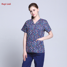 Operating clothes women cartoon hand washing cotton doctor working brush split suit isolation