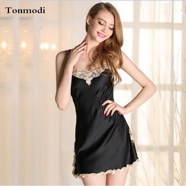 Nightgown Sexy Silk Spaghetti strap sleeveless lace nightgown viscose plus size short skirt lounge nightshirt