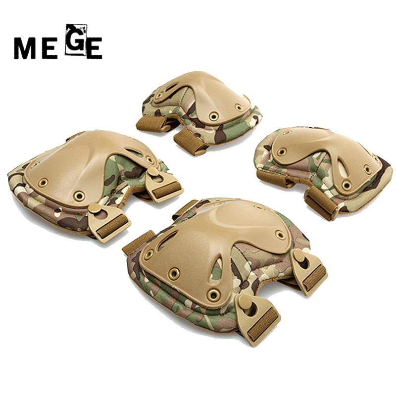 MEGE Tactical paintball Equipment, Adjustable Sports Protective Knee Pads For CS Outdoor Equip, 2 knee pads & 2 elbow pads/Set