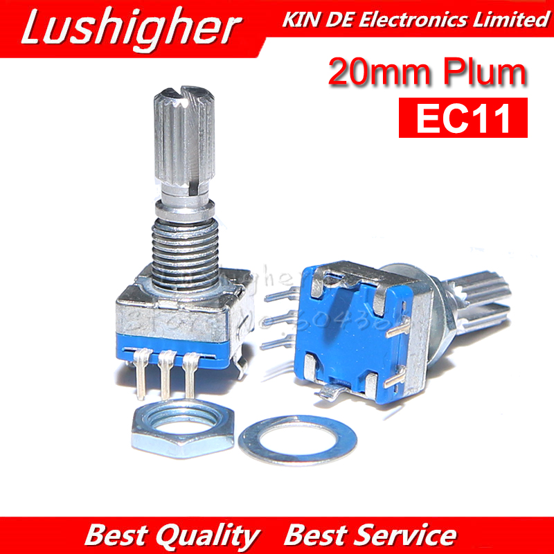 5PCS EC11 20mm Plum Hle Rotary Encoder Coding Switch Digital Potentiometer Switch 5 Pin DIY