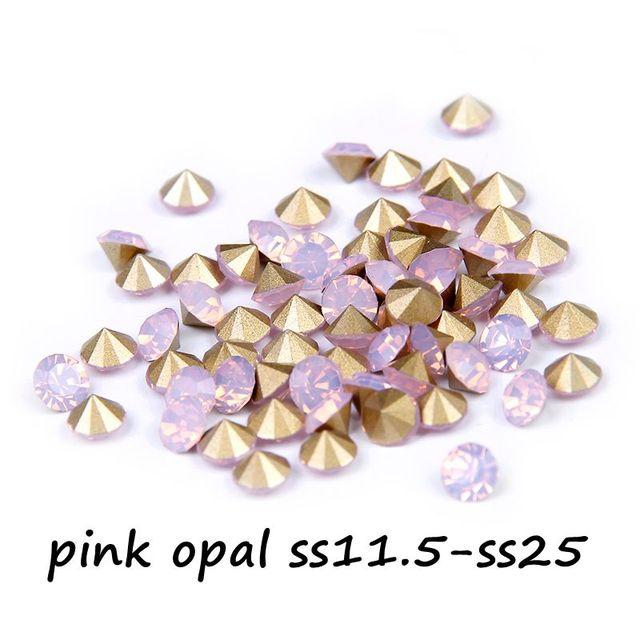 Varejo de Cristal Pedrinhas Para Decoração ss11.5-ss25 Rosa Opal Cor Pointback Pedras De Vidro Glitter Beads DIY Fazer Jóias