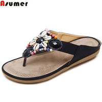 ASUMER 2018 Summer Ladies Shoes Black Red Fashion Casual Crystal Shoes Woman Simpl Comfortable Women Sandals