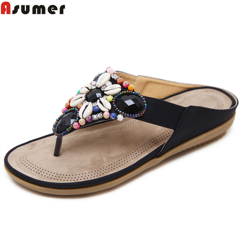 ASUMER 2019 summer ladies shoes black red fashion casual crystal shoes woman simpl comfortable women sandals plus size 35-45 ASUMER 2019 summer ladies shoes black red fashion casual crystal shoes woman simpl comfortable women sandals plus size 35-45