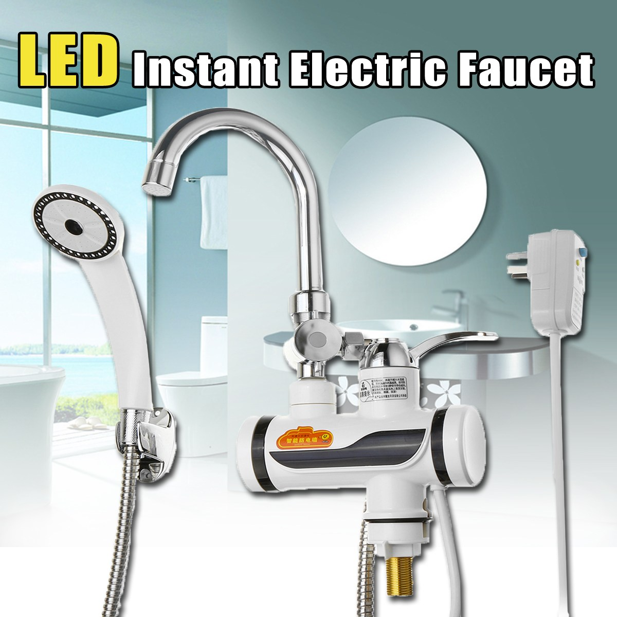2000-3000 W 220 V cuisine LED chauffe-eau électrique instantané chauffage rapide robinet mitigeur chaud froid + douche + Protection contre les fuites