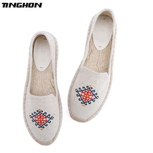TINGHON Fashion Women Ladies Espadrille Shoes Canvas Embroidered Ethnic Rome Ankle Strap Hemps Flats Shoes veowalk panda embroidered women s casual canvas ballet flats ankle strap ladies chinese cotton embroidery shoes woman ballerinas