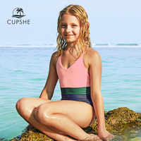 CUPSHE Color Block One-piece Swimsuit For Toddler Girls And Girls Kids Backless Swimsuit 2019 Baby Girl Monokini Bathing Suits