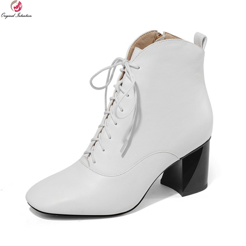 Original Intention New Fashion Women Ankle Boots Real Leather Square Toe Block Heels Boots Black White Shoes Woman Size 3-10.5 women vintage square toe real leather half boots fashion woman transparent square heels shoes heeled footwear size 34 39 n00139