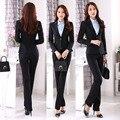Plus Tamaño Uniforme Formal Trajes de Negocios de Diseño Profesional Con Chaquetas Y Pantalones Mujer Trajes de Señoras Pantalones Set Conjuntos