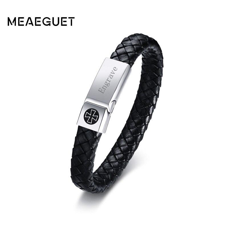 Meaeguet Fatti A Mano degli uomini del Cuoio Genuino Bracciale In Acciaio Inossidabile Cavaliere Croce Magnete Fibbia Incidere ID Bracelet & Bangle Jewelry