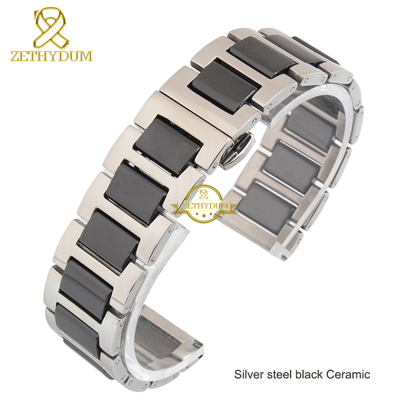 Image 5 - Ceramic bracelet in stainless steel watchband watch strap women man wristwatches band 12 14 16 18 20 22mm white Butterfly buckle-in Watchbands from Watches