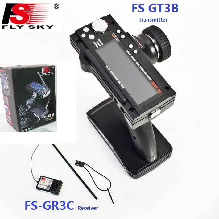 Flysky FS-GT3B FS GT3B 2.4G 3CH pistolet RC système de contrôle émetteur avec récepteur de FS-GR3C pour RC voiture bateau jouets avec écran LED
