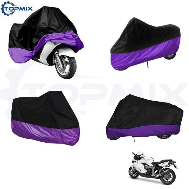 XL/XXL/XXXL Black+Purple Waterproof Motobike Rain Dust Cover Bike Motorcycle Cover Black Purple Outdoor UV Protector