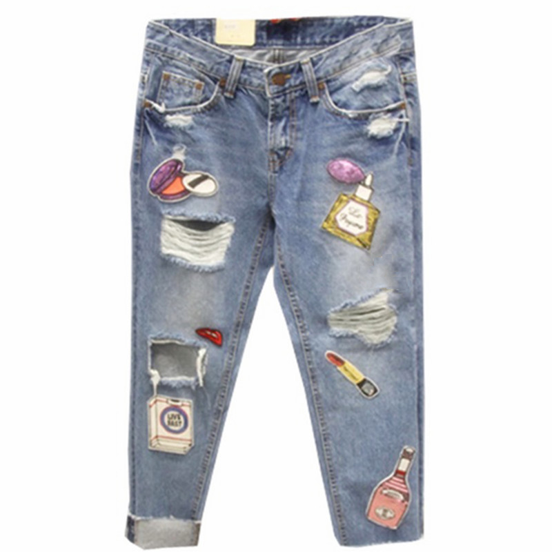 Boyfriend Ripped Denim Jeans Women Plus Size Patchwork ...