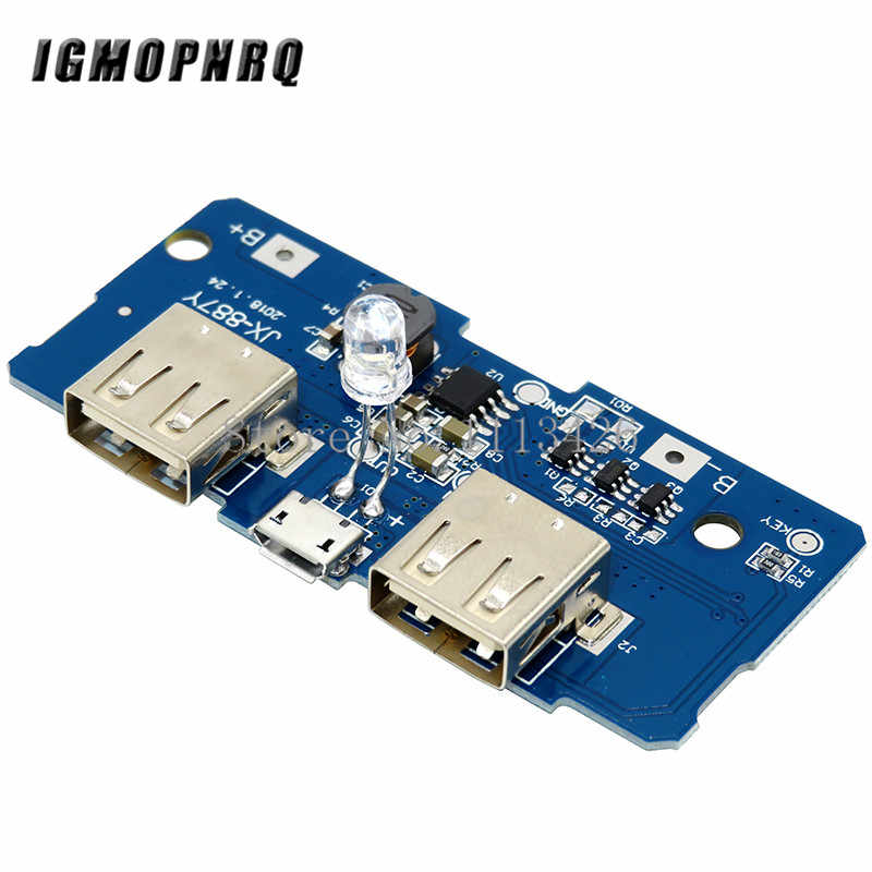 18650 Dual Micro USB 3,7 V zu 5V 2A Boost Mobile Power Bank DIY 18650 Lithium-Batterie Ladegerät PCB board Step Up Modul Mit Led