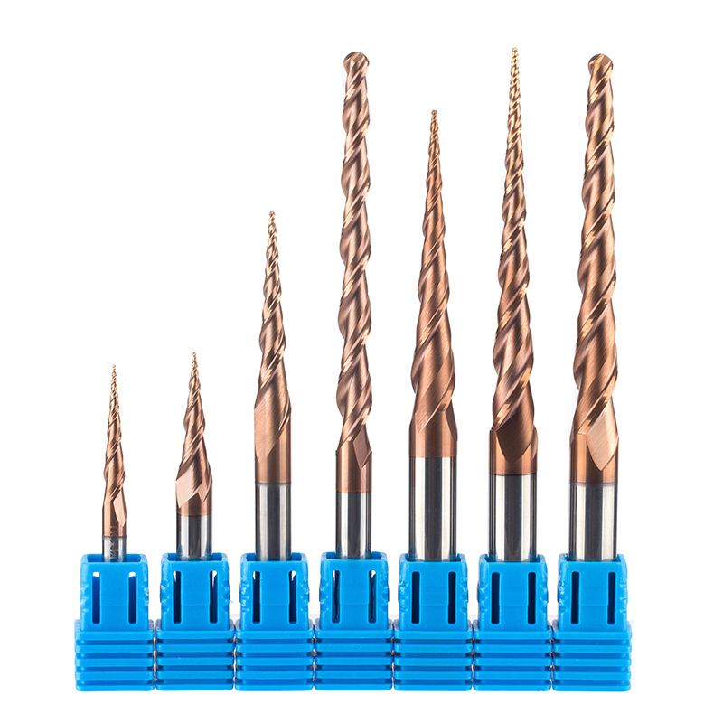 1 pz HRC55 Tapered Sfera Naso Fresa Carburo di Tungsteno Solido Rivestito Cono Cono Fresa Cnc D4-D10mm Incisione Bit