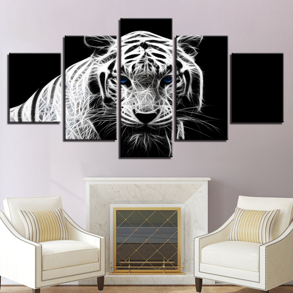 Wall Art Canvas Paintings Framework 5 Pieces Animals White