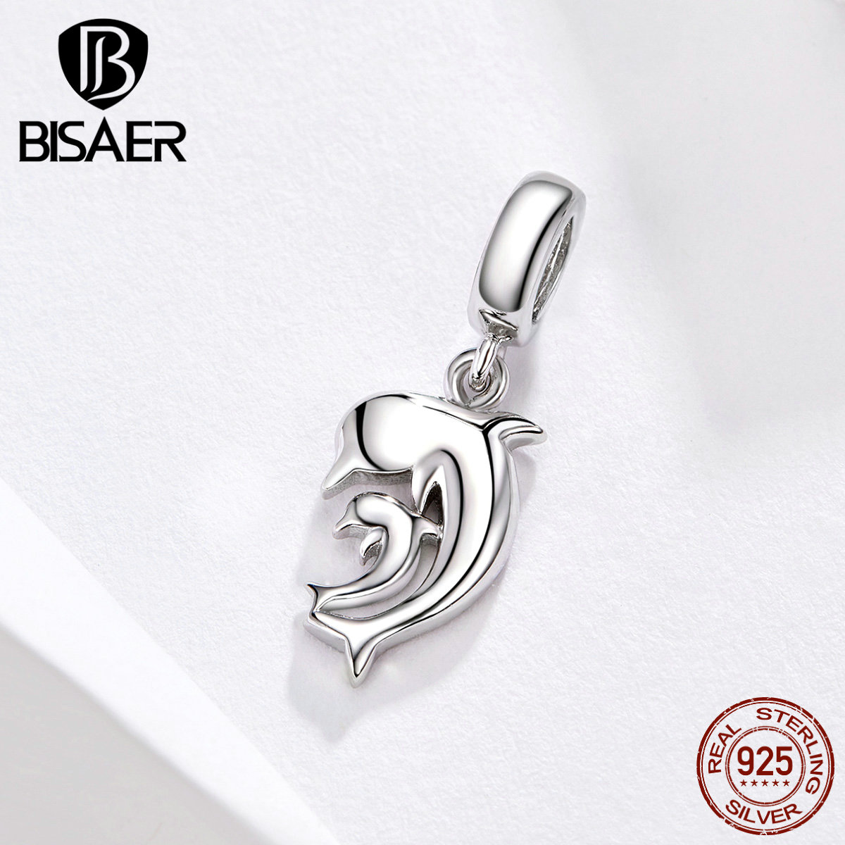 BISAER Dolphin Charms 925 Sterling Silver Cute Dolphin Mom And Kids Love Beads Fit Mother Bracelets Gift DIY Jewelry ECC1206