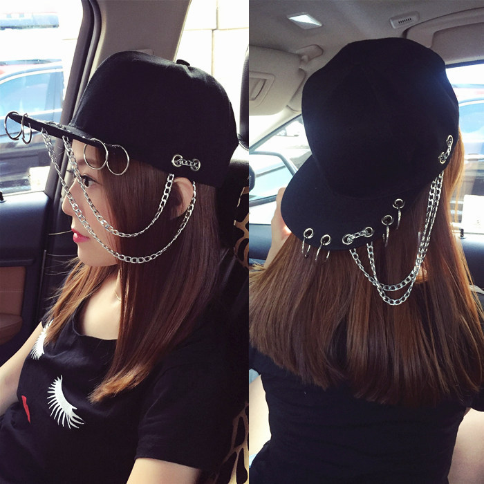Harajuku Fashion SWAG Rivet Chains Baseball Caps Hip Hop Hat Iron Hoop Snapback Cap Trend Couple Dance Baseball Cap For Women