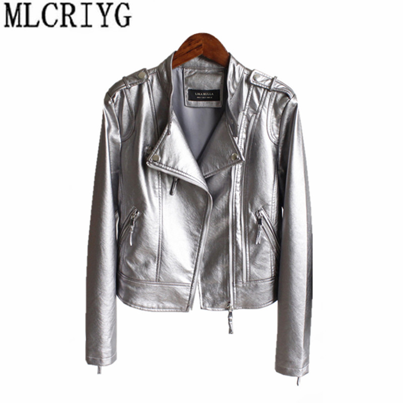 2019 Spring Autumn PU   Leather   Jacket For Women Glossy Short Faux   Leather   Coats Motorcycle Jackets Outerwear chaqueta mujer YQ235