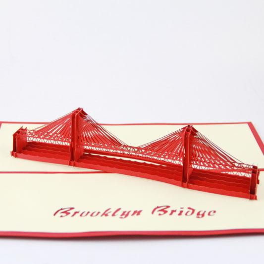 Cubic life 3D greeting card Brooklyn Bridge three-dimensional greeting card creative American tourism card the construction of taj mahal tourism 3d cubic life manual paper card card creative stereo