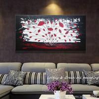 100 Hand Painted Abstract Palette Knife Oil Painting A Big Red Flower Picture Wall Decor Art