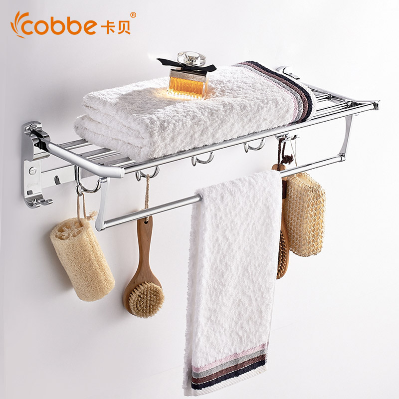 Amazing Stainless Steel Towel Rack 60cm With Hooks Wall Mounted Towel Holder Stand  Rail Of Decorative Bathroom Nice Look