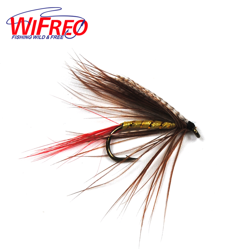 10PCS 10# Grey Wing Gold Rib May Fly Wet Flies for Trout Fly Fishing