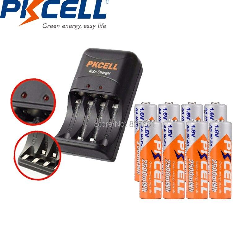 8 unids PCs PKCELL NIZN AA batería recargable aa 2500mWh 1,6 V baterías con Unid 1 PC EU US enchufe ni-zn cargador carga 2 a 4 Unid AA o AAA